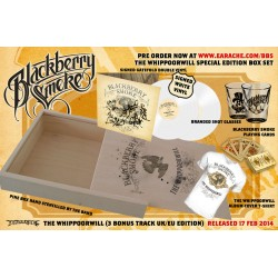 "Blackberry Smoke ""The Whippoorwill"" Deluxe Pine Box Set, hand-stencilled by the band themselves! EXCLUSIVE 2x12"" SIGNED White Vinyl, branded shot glasses, playing cards, and ""The Whippoorwill"" Tshirt - Limited to 100!"