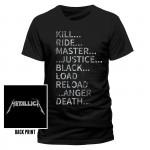 """Metallica """"Album Text"""" T Shirt"""
